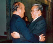 Dr Moon and Kim Il Sung